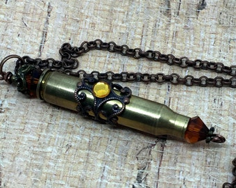 Bullet Pendant   Re-purposed      Ammo Jewelry       Bullet and Crystal Pendant   item 2271