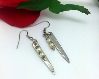 Fork Tine Earrings  Pearl Beaded Earrings Silver dangle earrings    Vintage Silverware Earrings  item 861