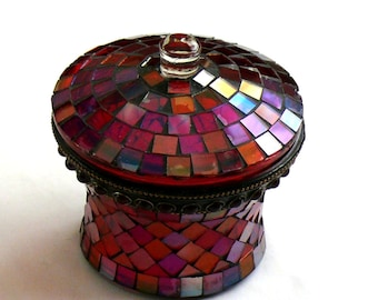 Vintage Trinket Box Lovely Mirror Covered Glass Box