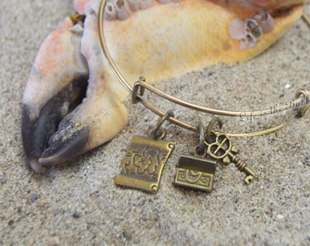 Pirate Jewelry, Pirate's Treasure Bangle Bracelet, Map, Chest, and Key, Pirates of the Caribbean, Bronze Pirate Jewelry, Pirate Bracelet