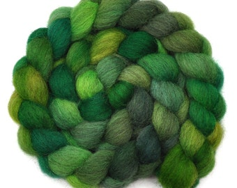 Hand dyed wool roving - Gray Masham wool spinning fiber - 4.1 ounces - County Tyrone