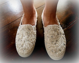 Wedding Bridal Flat Tennis Shoes - chic Ivory cream lace - Rhinestone Pearls - eyelet trim - Shabby vintage inspired - sneakers oxfords