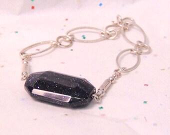 Vintage Sterling Silver Blue Goldstone Link Bracelet, Free Shipping