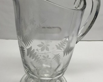 Etched Floral Pitcher