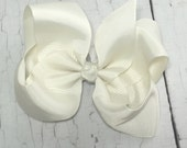 Boutique Bow - Ivory Girls Hair Bow - 4 inch Hair Clip - Boutique Bow - Baby, Toddler, Girl,