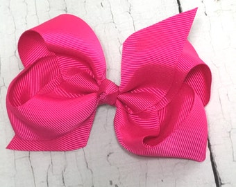 Boutique Bow - Shocking Pink Girls Hair Bow - 4 inch Hair Clip - Boutique Bow - Baby, Toddler, Girl,
