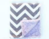 Infant Baby Car Seat Lap Blanket, Light Gray and White Chevron with Lavender Minky Swirl