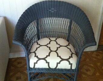 Wicker Arm Chair - Grey