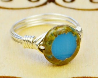 Sale! Wire Wrapped Ring- Sterling Silver Filled Wire with Round Turquoise Blue Czech Glass Bead - Size 4, 5, 6, 7, 8, 9, 10, 11, 12, 13, 14