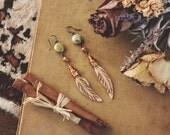 Feminine Earthy Bone Feather Dangle Earrings