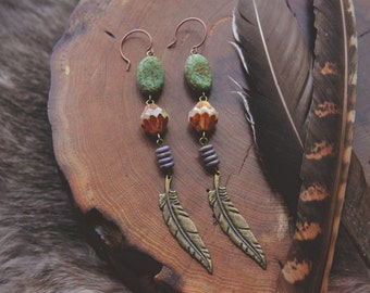 Earthy Feather Dangle Earrings
