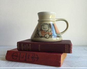 Vintage 80's Otagiri Map Mug / Volcano Flat Bottom Coffee Cup