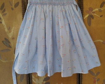 80s blue smocked girls dress