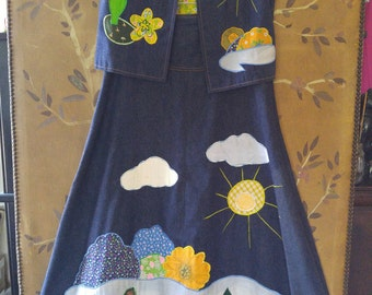 70s denim and applique waistcoat and maxi skirt by Dotti Didit, Hong Kong