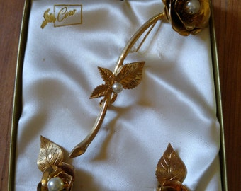 70s Cora gold tone and faux pearl rose brooch and earrings set in original box.