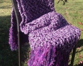 Purple Crochet Blanket Throw Afghan with Fringe Thick Bulky Unique One Of A Kind