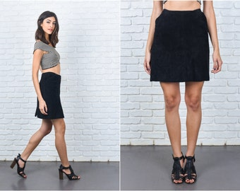 Vintage 80s Black Suede Leather Skirt Mini High Waist Medium M 7389