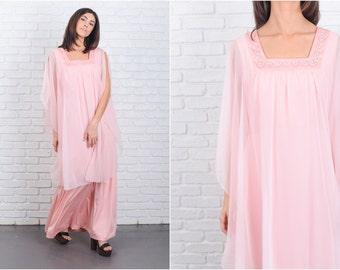 Vintage 70s Pink Maxi Dress Cape Train Floral Crochet Sheer Goddess large L 6800 vintage dress pink dress goddess dress large dress