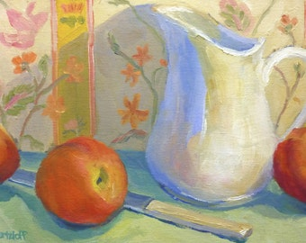 Peaches and Pitcher  Original Impressionist Still Life Oil Painting on Canvas