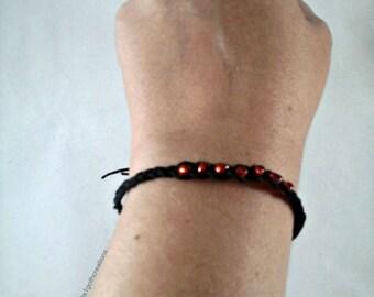 Wish Bracelet - Hemp Wish Bracelet - Gothic Wish Bracelet - Black Wish Bracelet