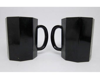 Black French glass mugs