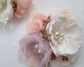 Corsage Pin - Fabric Flower Corsage Pin - in Pale Dusty Purple, Peach, Cream and Gold, Fabric Wedding Flowers, Grandmother's Pin, Mother