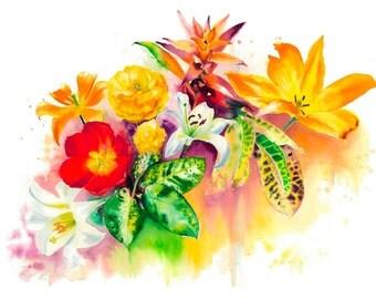 """5x7"""" Flower Bouquet Watercolor Giclee Fine Art Print [Flower Painting, Flower Art Print, Flower Art, Flower Bouquet Art, Watercolor Art]"""
