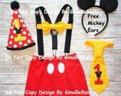 Mickey Mouse Shorts Birthday outfit costume cake smash suspenders Hat I am one tie or Bow costume Black FREE Ears 12 18 24 toddler SALE