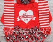 Valentines Day baby girl outfit red zebra heart tutu skirt optional leg warmers shower first dress up Headband bow 3 6 9 12 18 toddler