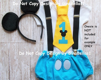Mickey Mouse Birthday cake smash outfit costume ears suspenders baby blue chevron I am one diaper cover tie 12 18 24 toddler GinaBellas1