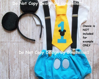 Mickey Mouse Birthday outfit cake smash costume ears suspenders baby blue chevron I am one tie diaper cover 9 12 18 24 toddler GinaBellas1