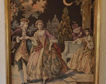 Beautiful Linen Tapestry Textile French Rococo Period Scene Courting Couples Lovers Art Home Decor