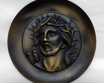 Vintage Metal/Brass? Jesus Christ Head Bust Plate Religious Home Decor