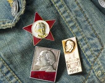 Lenin badges set 3, Soviet red silver gold shades Lenin profile pins, propaganda Communist Party Soviet Union pin, Soviet star pioneer badge