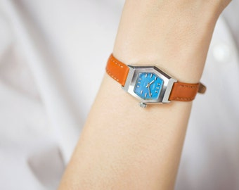 Geometric women's watch Seagull rare, blue face woman watch, hexagon lady watch, lady's watch 80s summer gift, new premium leather strap