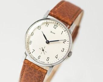 Simple men's wrist watch ZIM, classical men watch mechanical, Soviet watch minimalist, boyfriend's watch retro, new genuine leather strap