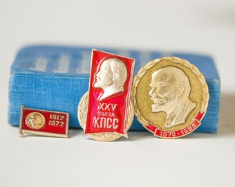 Soviet pins red, Lenin communist komsomol badges, USSR badges collectible, red gold shades pins propaganda, congress Communist party pin