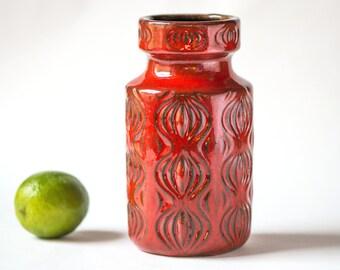 Vintage Scheurich Keramik vase red, pottery vase 285-15 model Amsterdam,onion pattern W. Germany ceramic vase modern,Scheurich Fat Lava vase