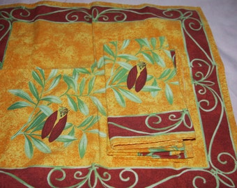 Set of 4 New French Provence Yellow & Red - Cotton -