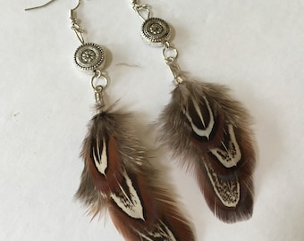 Handmade Feather Earrings with Flower Accent