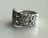 Spoon Ring - Upcycled Spoon Ring - Silverware Jewelry - Art Deco Influence Coronation - Eco Friendly  (02585-LV)