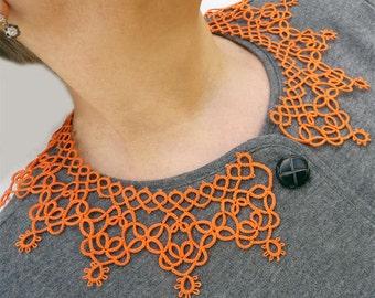 Orange Collar - lace collar - collar tatting - feminine accessories - elegant collar - vintage style