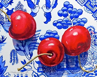 "Bue Willow and Red Cherries Print of Original Watercolor 5""x7"" Matted 8""x10"""