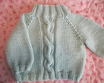 Handmade baby sweater......big, fat cable!