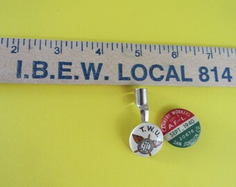 Vintage U.S.A. Labor Unions Collectibles/Union Made Wood Ruler/Pin Back Button/ Cannery Workers/Pen Attachment/AFL CIO/Industrial Display