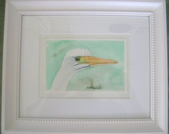 4 x 6 Original Watercolor Painting: Egret