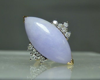 Lavender Jade Diamond Ring 14k Yellow and White Gold Size 4.5 Translucent Fine Jade Cabochon A Fantastic Gift Quality Ring