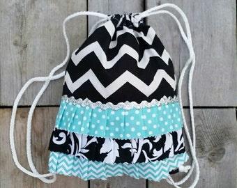 Toddler Size Black Chevron Drawstring Backpack - Ready to ship