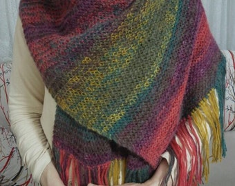 Colorful Shawl, Wrap, Knit Winter Colorful Shawl