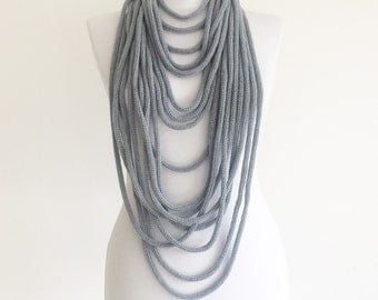 SPAGHETTI gray Knitted circle infinity scarf, necklace, neck wrap, multi-strand, winter jewellery gift for her SPAGHETTI